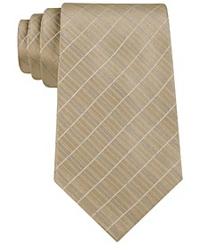 Etched Large Grid Windowpane Slim Tie