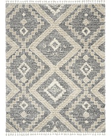 "Oslo Shag OSL02 Gray and Ivory 7'10"" x 10'6"" Area Rug"