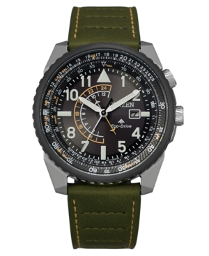Eco-Drive Men's Promaster Green Leather Strap Watch 42mm
