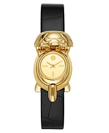 Women's Turtle Case Black Leather Strap Watch 22x24mm