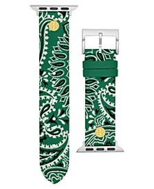 Women's Green Bandana-Print Band For Apple Watch® Leather Strap 38mm/40mm