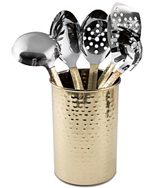 Stainless Steel 6-Pc. Hammered Finish Kitchen Utensils & Crock