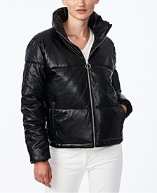 Juniors' Faux-Leather Puffer Coat