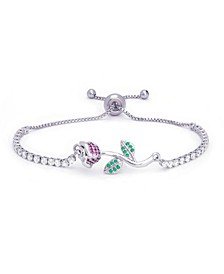 Fine Silver Plate Simulated Emerald And Ruby Rose Flower Adjustable Bolo Bracelet