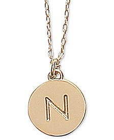"""Kate Spade New York Gold-Tone Initial Disc Pendant Necklace , 17"""" + 3"""" extender"""