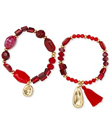 Gold-Tone 2-Pc. Set Red Beaded Stretch Bracelets, Created for Macy's