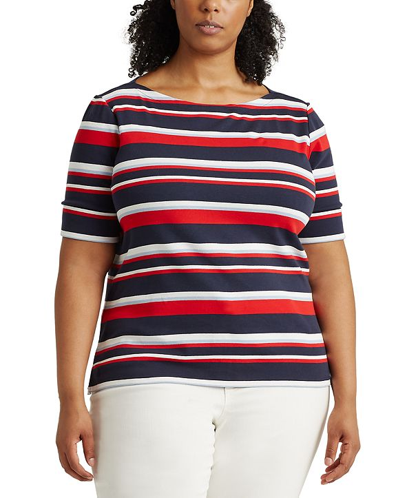 Lauren Ralph Lauren Plus Size Striped Cotton-Blend Top
