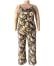 Trendy Plus Size O-Ring-Detail Printed Jumpsuit