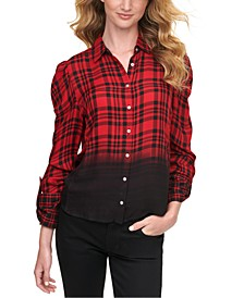 Womens Ombré Plaid Shirt