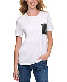 Faux-Leather-Pocket T-Shirt