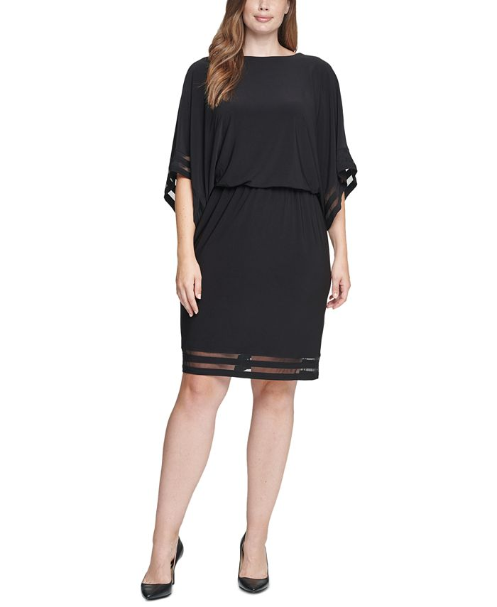 Jessica Howard - Plus Size Illusion-Trim Blouson Dress