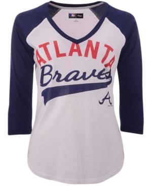 G-iii Sports Atlanta Braves Mlb Women's Its A Game Raglan T-Shirt