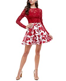 Juniors' 2-Pc. Lace & Floral-Print Fit & Flare Dress