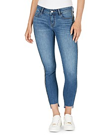 Mid-Rise Side-Stripe Step-Hem Skinny Ankle Jeans