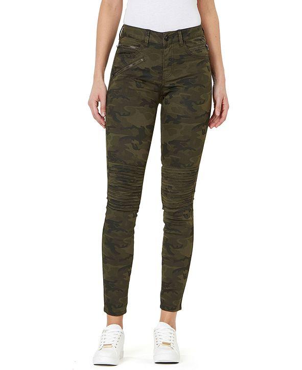 Numero Camo-Print Moto Skinny Jeans