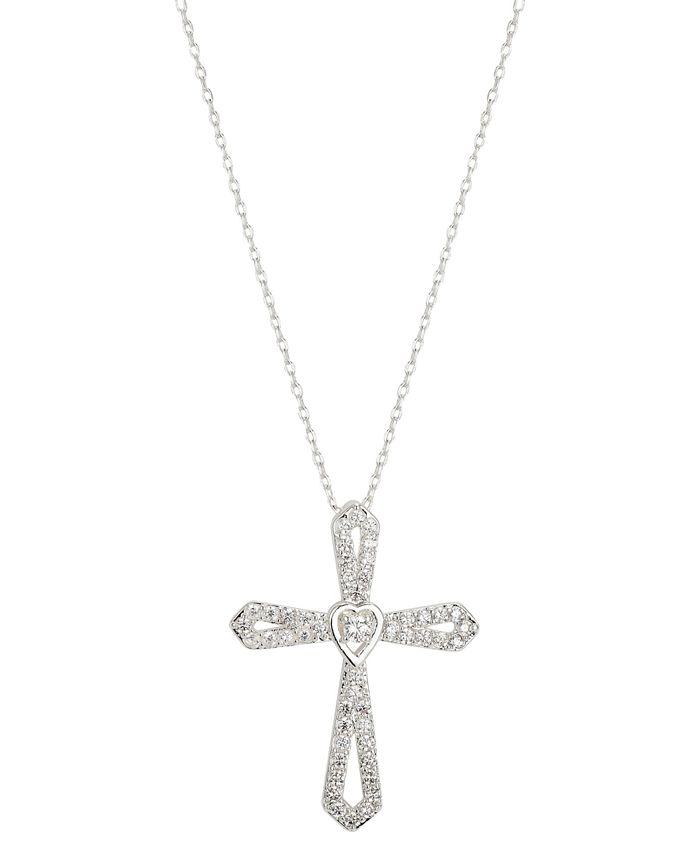 "Unwritten - Cubic Zirconia Cross Heart Pendant Necklace in Fine Silver-Plate, 16"" + 2"" extender"