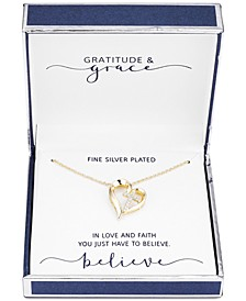 "Gratitude & Grace Fine Silver Plated Cubic Zirconia Cross Heart Pendant Necklace in Gold, 16"" + 2"" extender"