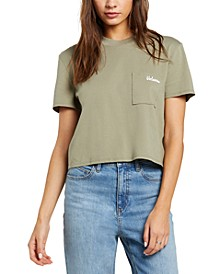 Juniors' Cotton Pocket Dial Cropped T-Shirt