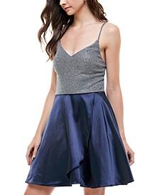 Juniors' Glitter & Satin Fit & Flare Dress