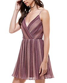 Juniors' Pleated Metallic Fit & Flare Dress