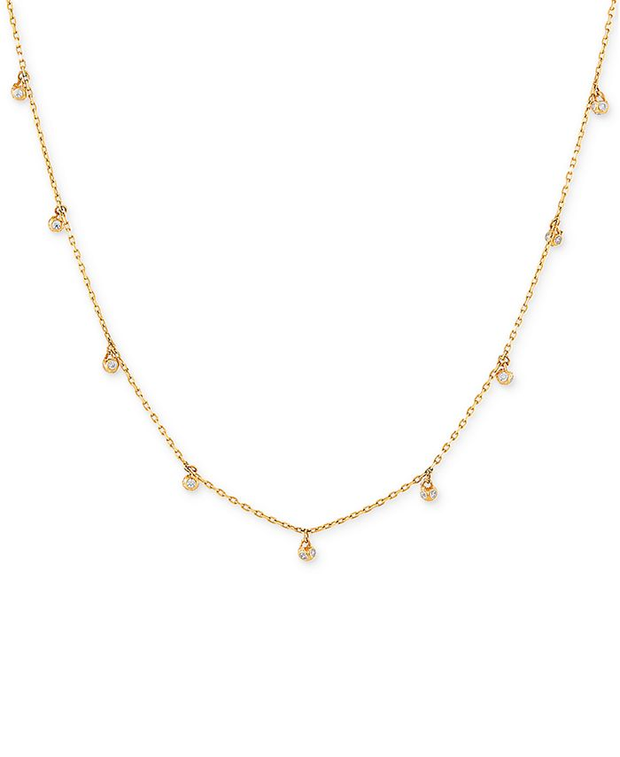 """Macy's - Cubic Zirconia Dangle 18"""" Statement Necklace in 14k Gold"""