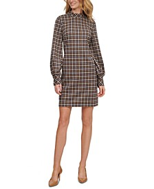 Ponté-Knit Plaid Mock-Neck Dress