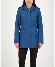 Hooded Quilted Water-Resistant Coat, Created for Macy's