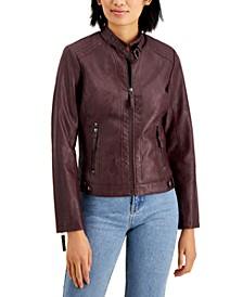 Juniors' Faux-Leather Jacket