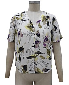 Petite Printed V-Neck Shirt, Created for Macy's