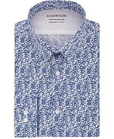 Men's Extra-Slim Fit Performance Stretch Temperature Regulation Geo-Print Dress Shirt