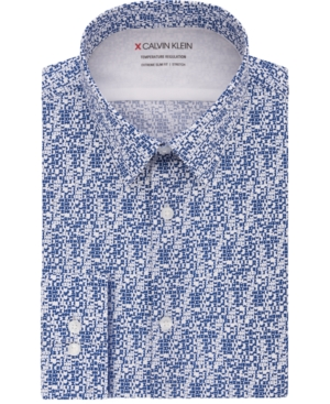 Calvin Klein Men's Extra-Slim Fit Performance Stretch Temperature Regulation Geo-Print Dress Shirt