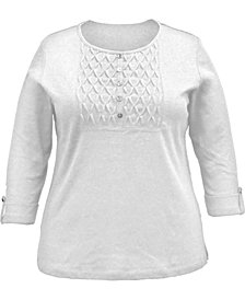 Karen Scott Plus Size Cotton Smocked-Bib Top, Created for Macy's
