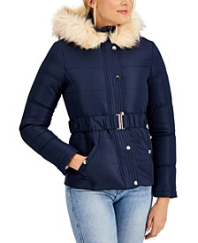 Juniors' Hooded Faux-Fur-Trim Belted Puffer Coat, Created for Macy's