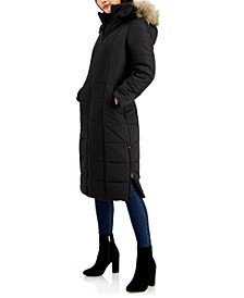 Juniors' Faux-Fur-Trim Hooded Maxi Coat