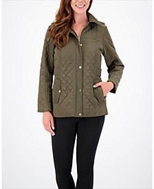 Petite Hooded Water-Resistant Quilted Coat, Created for Macy's