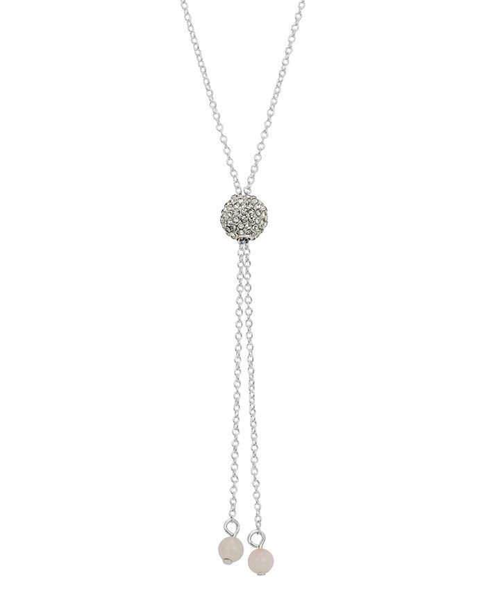 "Unwritten - Rose Quartz Crystal Fireball 30"" Lariat Necklace in Fine Silver-Plate"
