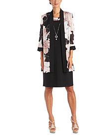 R & M Richards Plus Size 2-Pc. Printed Jacket & Necklace Dress Set