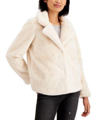 Juniors' Notch-Collar Faux-Fur Jacket