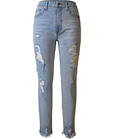 Juniors' High Rise Distressed Mom Jeans