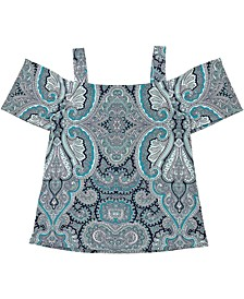 INC Printed Cold-Shoulder Top, Created for Macy's
