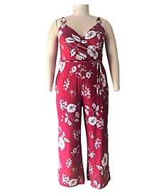 Trendy Plus Size Floral-Print Surplice Jumpsuit