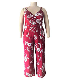 Derek Heart Trendy Plus Size Floral-Print Surplice Jumpsuit