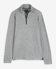 Men's French Rib Quarter Zip Mock Neck Pullover Sweatshirt
