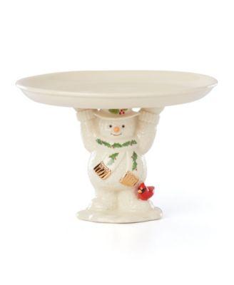 Happy Holly Days Snowman Treat Dish