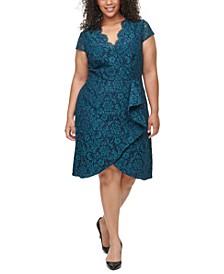 Plus Size Ruffle-Trim Lace Dress