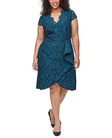 Vince Camuto Plus Size Ruffle-Trim Lace Dress
