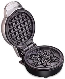 Mini Waffle Maker, Snowflake Silver