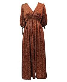 Plus Size Balloon-Sleeve Maxi Dress