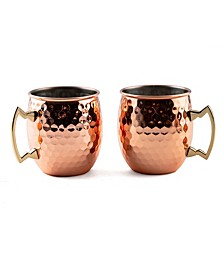 2 Pack Of 20 Oz Faceted Copper Moscow Mule Mugs