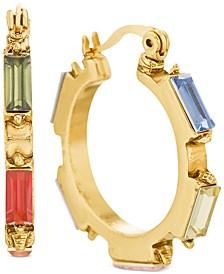 "Gold-Tone Medium Multicolor Rectangle Crystal Hoop Earrings, 1.12"""